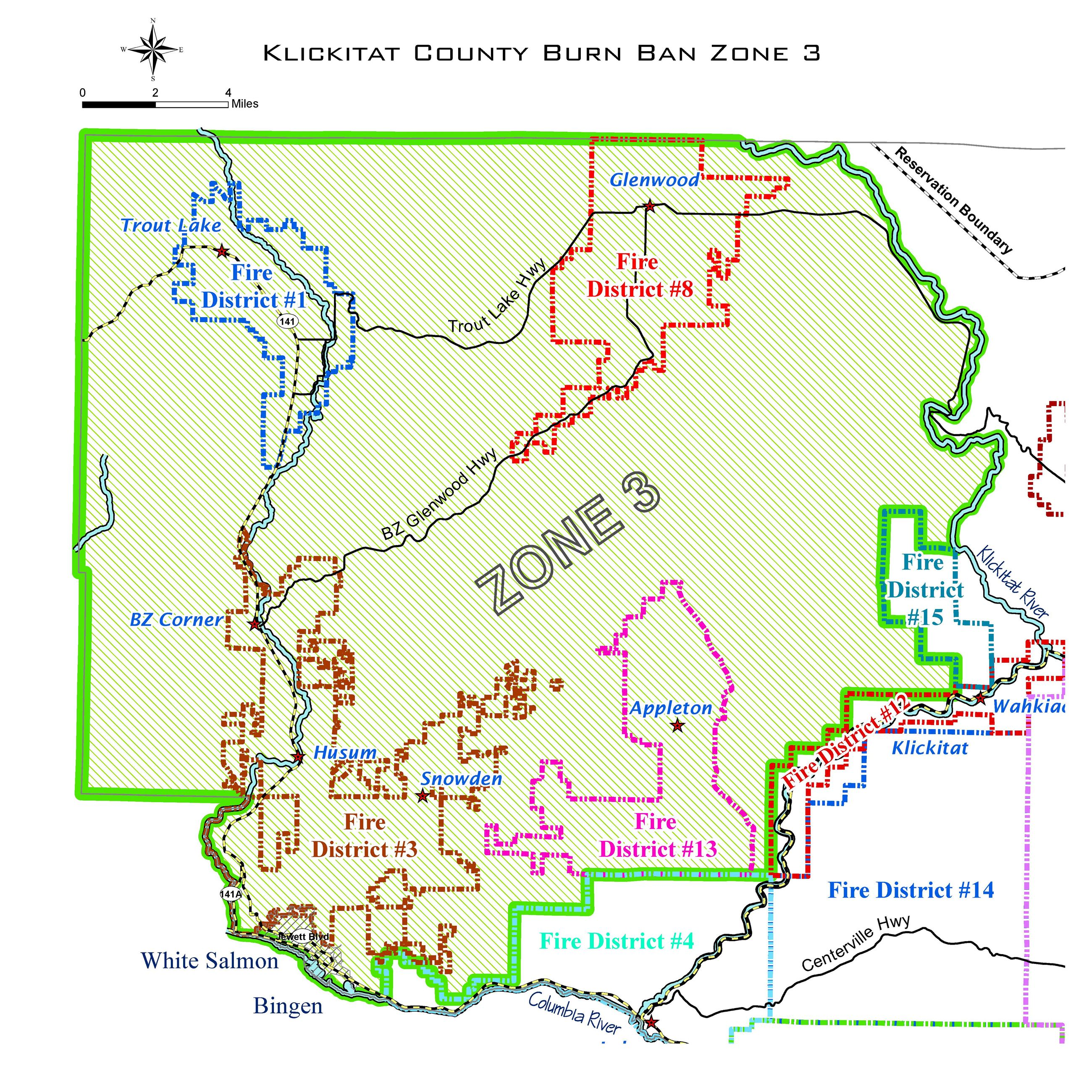 County Burn Ban Zone 3 Map
