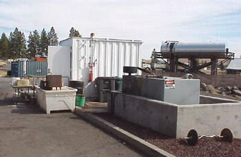 Storage facility for used motor oil.