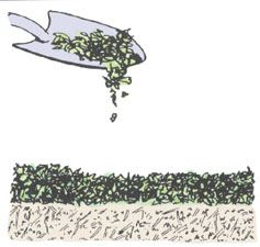 Clip art demonstrating Step 1 of constructing a compost pile.