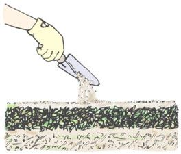 Clip art demonstrating Step 2 of constructing a compost pile.