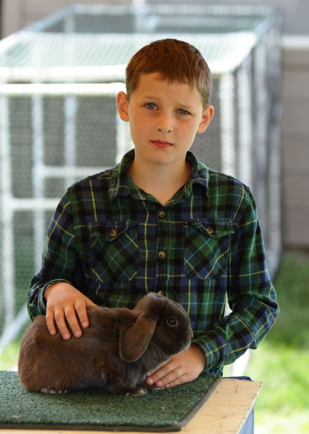 A boy stands next to his show rabbit at the 2014 Klickitat County Fair.